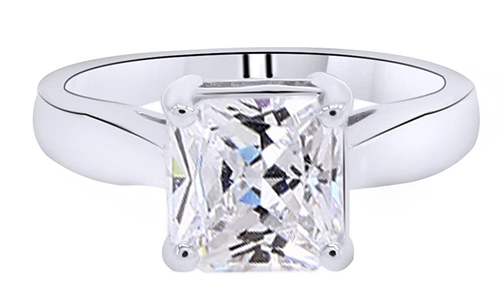 Cushion Cut White Moissanite Solitaire Engagement Ring in 14K White Gold Over Sterling Silver (2 Ct) AFFY MNo-RDY-CSR53926