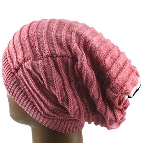 Samtree Unisex Slouchy Beanie Hat Stripe Knit Cap Loop Scarf Neckerchief (Hats For Dreadlocks)
