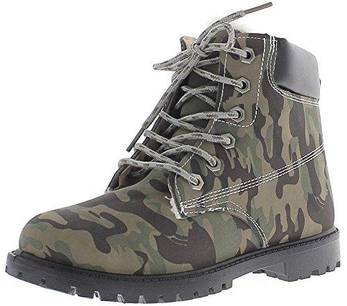 Militaire Camouflage Regard Et 3 Plein Vert Chaussmoi Lacets De Bottillons Talons À Cm tSIxfn