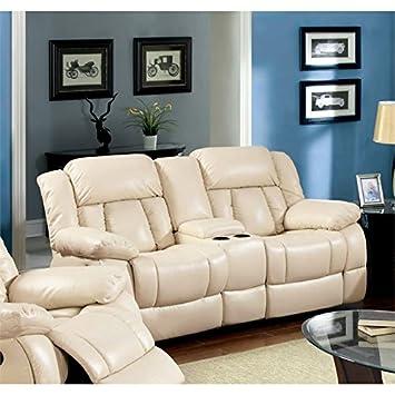 Amazon.com: Muebles de América Frey piel Loveseat reclinable ...