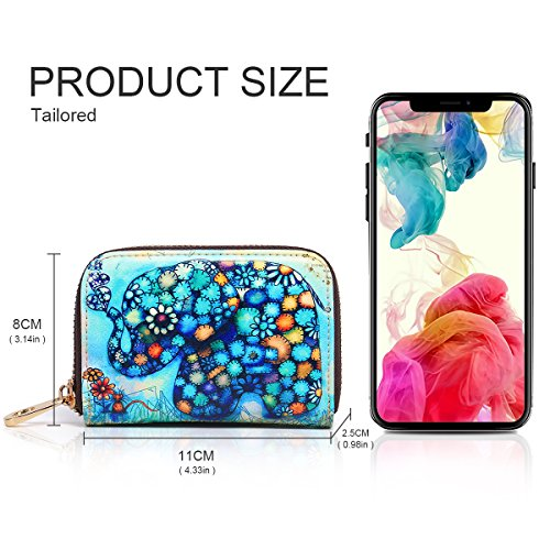 Women Security Card Accordion for Zipper Card RFID Pocket Patterns Wallet Case Box Travel Wallet Cartoon for Credit APHISONUK Gift Ladies Style Holder Purse Small Fox Blue with ID Genuine Elephant Leather Red 6P0xqgZ8