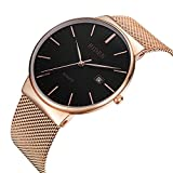 Watch,Men's Fashion Stainless Classic Casual Watch With Milanese Mesh Band,Waterproof Casual Analog Quartz Dress Wrist Watch (RoseGold)