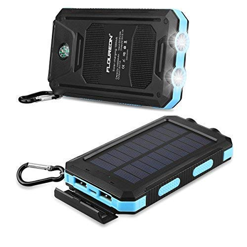 FLOUREON 10,000mAh Solar Power Bank Waterproof Solar Phone Charger with Dual USB 1.0A/2.0A Max Waterproof Portable Cell Phone Power Bank (Blue)