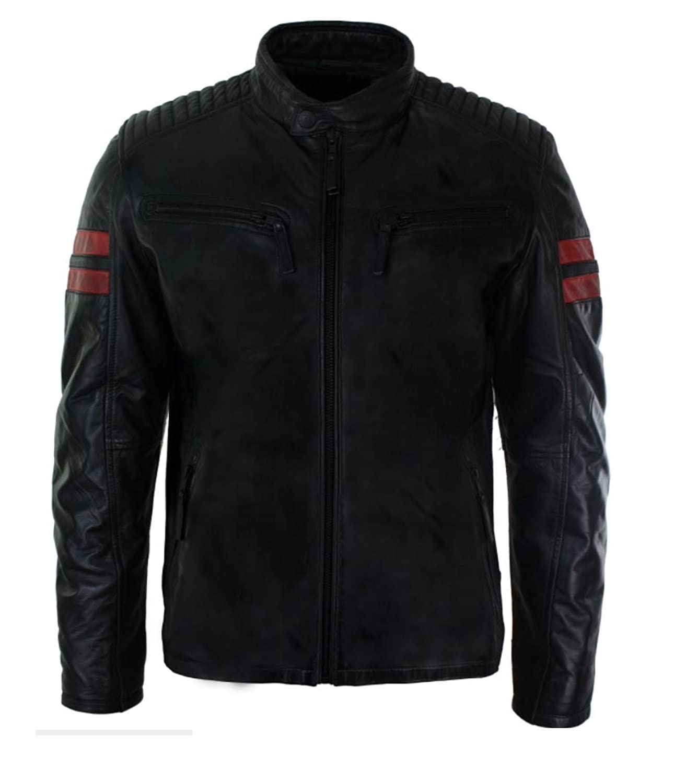 Mens Real Leather Biker Racing Jacket Red Stripes Zip Retro Casual Black Short