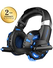 Xbox one Headset for PS4, Willnorn K2 Gaming Headset with Mic Noise Cancelling Over Ear Headphones for PC, Controller, Laptop, LED Light, Stereo Sound with Bass