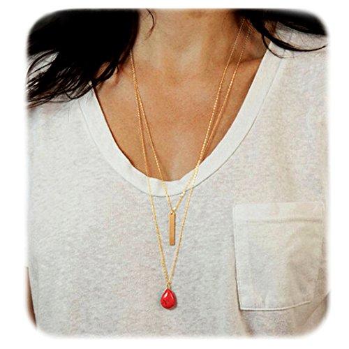 Suyi Womens Double Pendant Necklace