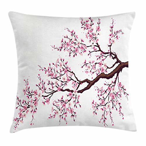 Flourishing Blossoms - Ambesonne Japanese Throw Pillow Cushion Cover, Branch of a Flourishing Sakura Tree Flowers Cherry Blossoms Spring Theme Art, Decorative Square Accent Pillow Case, 18 X 18 Inches, Pink Dark Brown