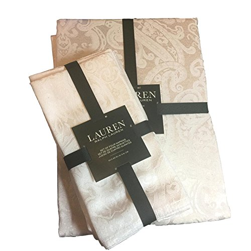 Lauren Ralph Lauren Paisley White (Shimmering Bright White) Tablecloth 70 x 104 Oblong + Set 4 Napkins Bundle