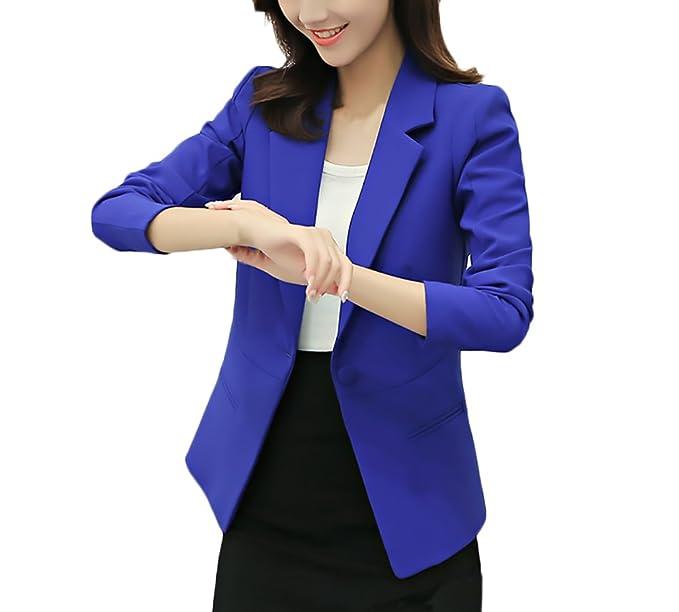 Traje Chaqueta Mujer Elegantes Primavera Chic Moda Casual Oficina Blazer Manga Larga De Solapa con Botones Negocios Ejecutiva Fiesta Abrigo Jacket