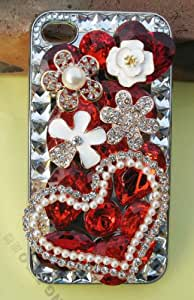 new love heart flower Bling Diamond Crystal Case Cover for iPhone 4 4G 4S 101BP