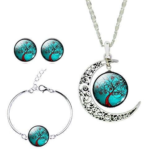 Jiayiqi Femmes Arbre De L'espoir Lune Temps Bijou Bracelet Boucles D'oreilles Collier Définit