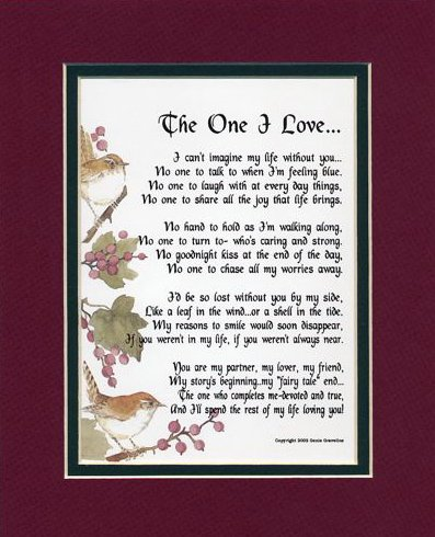 The One I Love #213 Gift Present Valentine Poem For Husband, Wife, Boyfriend, Girlfriend.