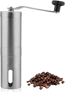 DHINGM Hand-Ground Coffee Machine, Made of High-Quality Stainless Steel, Thick and Strong, Ceramic Grinding Core, Keeping The Original Taste of Coffee Beans, Easy to Clean, No Smell (Silver)