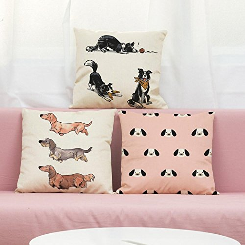 Vintage Printing Dogs Pillow Case, Keepfit Valentine Cute Sofa Waist Throw Pillow Case Cushion Cover Home Decor for Couple Lover (A)