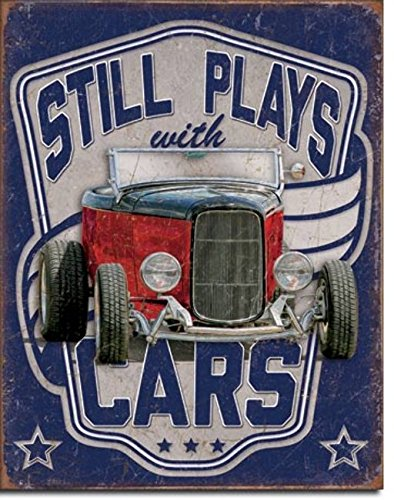 Still Plays With Cars Tin Sign 13 x -