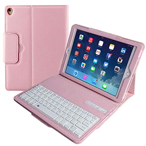 Eoso Keyboard Case for New 2018 iPad, 2017 iPad, iPad Pro 9.7, iPad Air 1 and 2 Folding PU Leather Folio Cover with Removable Bluetooth Keyboard(Pink)