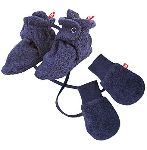 (Maven Gifts: Zutano Newborn Unisex-Baby Fleece Bootie, Navy, 12 Months with Cozie Lined Mitten, One Size)
