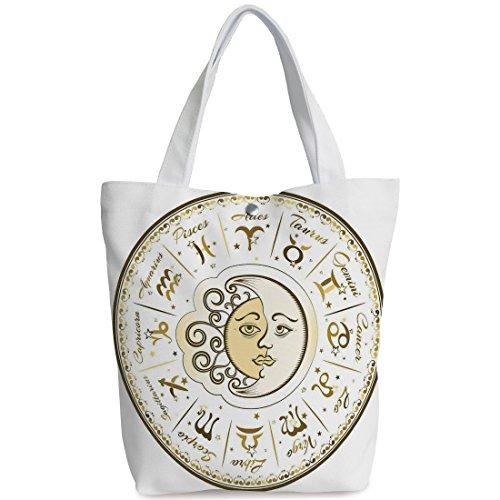 Canvas Shopping bag,shoulder handbags,Shoulder Bag,Zodiac Decor,Circular Zodiac Chart Apparent Position of Sun and Moon in Centre Pattern,Yellow Beige,Unique Durable Canvas Tote Bag