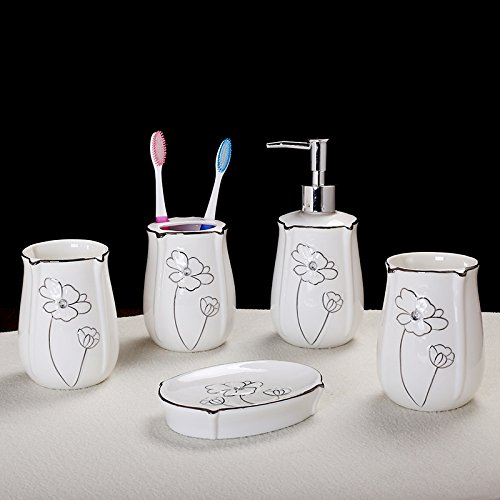 GTVERNH-Recipients Of Gifts Ceramic Bath 5 Piece Set Ceramic Bathroom Vanity Kit Toothbrush Cup Tool Kit