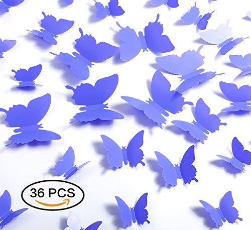 Kakuu 36PCS Butterfly Wall Decals - 3D Butterflies wall stickers Removable Mural decor Wall Stickers Decals Wall Decor Home Decor Kids Room Bedroom Decor Living Room Decor-Purple ()
