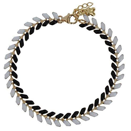 Les Poulettes Bijoux - Bracelet Laurier Plaqué Or Email Noire et Blanche