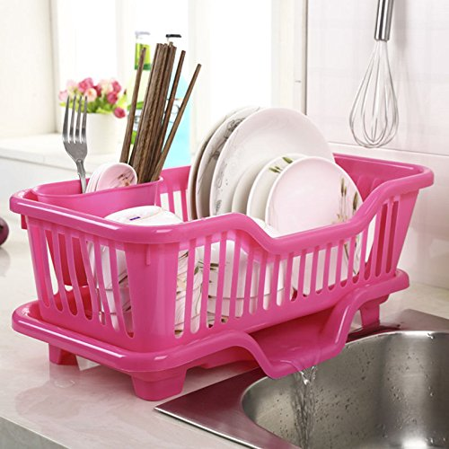 XHHOME Environmental PP Plastic Kitchen Sink Dish Drainer Set Rack Washing Holder Basket Organizer Tray, Approx 17.5
