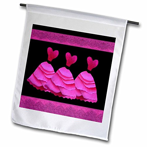 3dRose fl_30161_1 Three Frilly Hot Pink Dresses with Coordinating Ribbons Garden Flag, 12 by 18-Inch