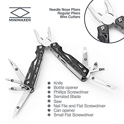 Minimaxer Multi-Tool Kit - Stainless Steel Multi-Tool for Survival, Camping, Fishing, Hunting, Hiking, with Pliers, Screwdriver, Knife