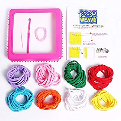 Per DIY Knitting Kit Stretchy Loops Potholder Loom Set Innovative Handmade Toys for Kids Toddlers: Home & Kitchen