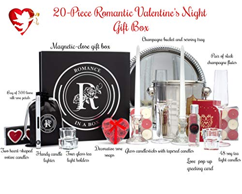 Romantic Night Valentine's Day Decorations Gifts Basket with Candles and Rose Petals
