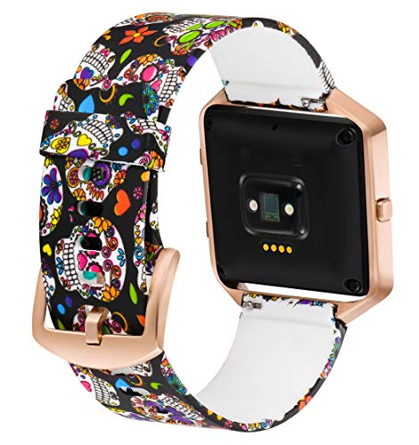 Aiseve Fitbit Blaze Floral Bands Women, Replacement Wristbands Strap with Rose Gold Frame Buckle for Fitbit Blaze Smartwatch Small Large (Skull, Large)