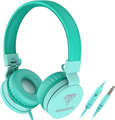 BENGOO Kids Headphones Over-Ear On-Ear, 3.5mm Jack Wired Headphones for Kids – HD Stereo Sound 85dB Volume Limited, Foldable Tangle-Free Over Ear Headphones for Children Boys Girls Teens