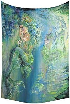 ADE Custom Tapestry Art Fantasy Beautiful Underwater World Mermaid Cotton Linen Wall Hanging Dorm Art Tapestry Soft Home Decor DIY 60 x 40