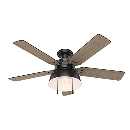 Hunter Indoor Outdoor Low Profile Ceiling Fan with light and pull chain control – Mill Valley 52 inch, Black, 59310