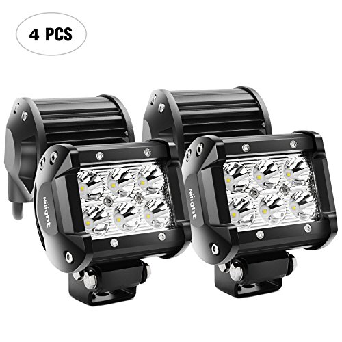 LED Light Bar Nilight 4PCS 18W 1260lm Spot led pods Driving Fog Light Off Road Lights Bar Jeep Lamp,2 years Warranty
