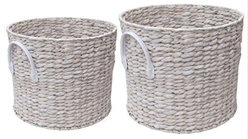Round Storage Basket With Handles Shabby Chic White Washed Laundry Hyacinth  Log Store Pack Of 2: Amazon.co.uk: Kitchen U0026 Home