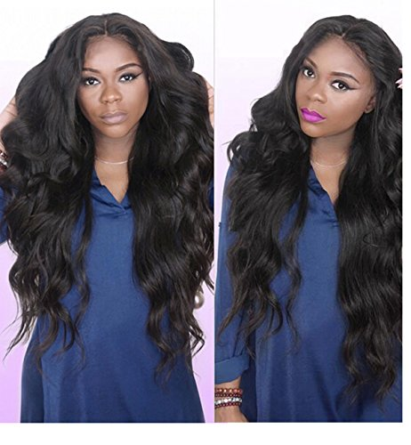 Human Hair Wigs for Women Brazilian Virgin Human Hair Lace Front Wigs with Baby Hair Loose Curly Wigs Glueless Lace Front Wig Body Wave Natural Black Color Wigs 12 inch by Prime Kitty (Image #2)