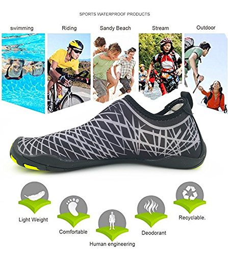 Kitleler Waterschoenen Voor Heren Dames Huispantoffels Barefoot Sneldrogend Aqua Met Drainagegat Voor Yogazwemmen Zwartgrijs