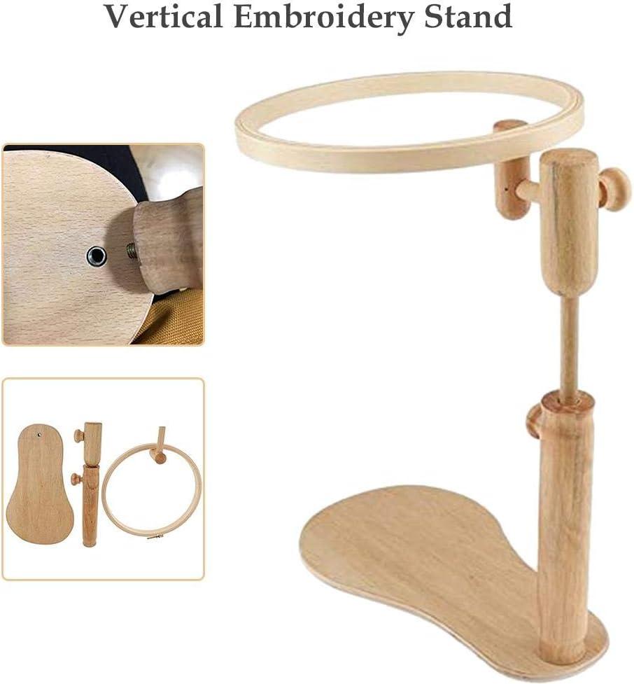 360 /° Drehung Vertikaler Stickst/änder Runder Stickrahmen /Über Verstellbarer Holzkreuzstich-St/änder iYoung Holzstickrahmen