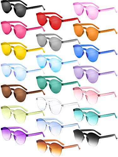 21 Pieces Round Rimless Sunglasses One Piece Transparent Candy Color Tinted ()
