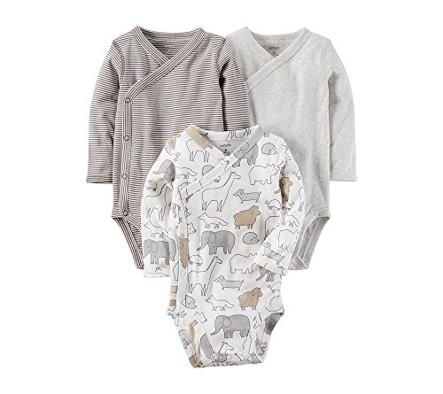 Baby Three Pack Bodysuits (Carter's Baby 3-Pack Side Snap Printed Bodysuits Newborn)