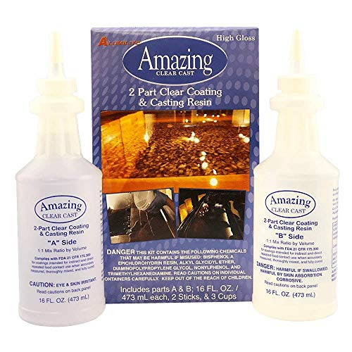 Amazing Casting Products 10591 Clear Resin,Includes parts A & B; 16 FL. OZ./473 mL each , Packaging may Vary