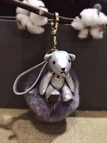 Luxury Leather Silver Teddy Bear with Large Fluffy Pom Pom Ball Keyring Keychain Bag Charm (Silver)