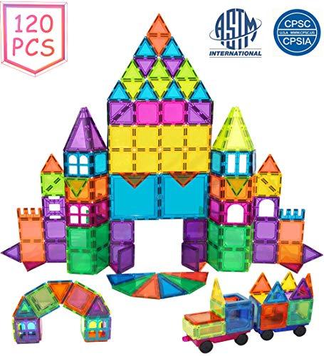 BMAG Magnetic Building Blocks for Kids, 3D Magnetic Building Tiles Set, STEM Preschool Construction Toys Educational Puzzles 120 PCS with 2 Cars ()