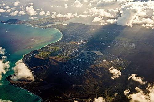 カイルア、ハワイの壁紙の空撮-ビーチの壁紙-#26448 - キャンバス ステッカー 印刷 壁紙ポスター はがせるシール式 写真 特大 絵画 壁飾り50cmx33cm