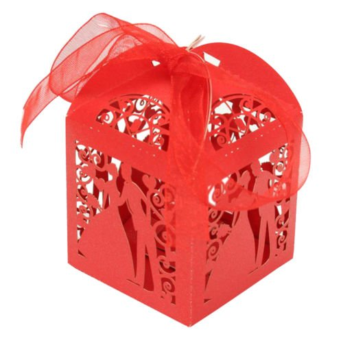 MAZIMARK--50Pcs Wedding Favor Candy Box Bride & Groom Dress Tuxedo Party Ribbon (Groom Glass Bears)