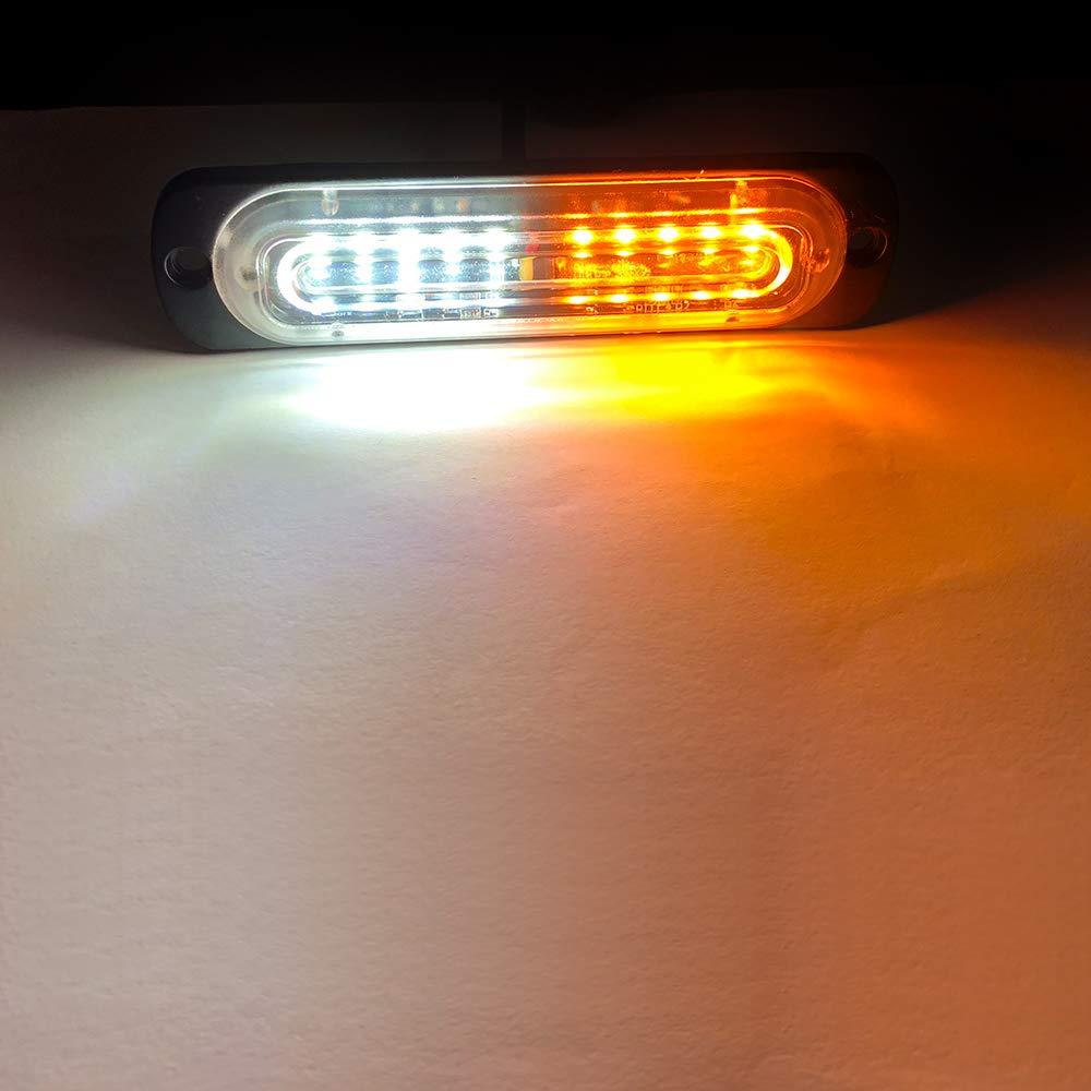 4pcs Ultra Thin 10 LED Amber Car Flashing Warning Light Emergency Beacon Hazard Warning Lights for Trucks Trailer Van Motorcycle Side Network Warning Light DC12-24V
