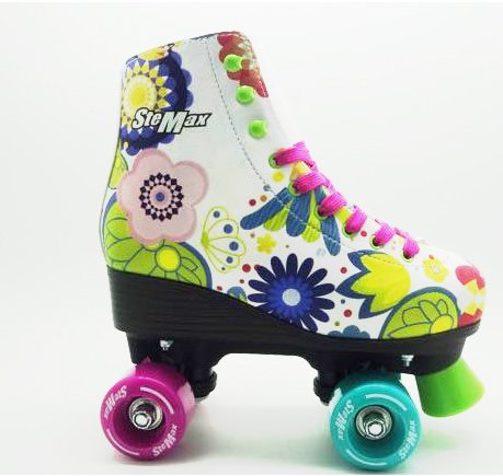 Stemax Quad Roller Skates for Girls / Outdoor Classic High Cuff Quad Skates with Lace System (Floral, 36) (Roller Girl Outfit)