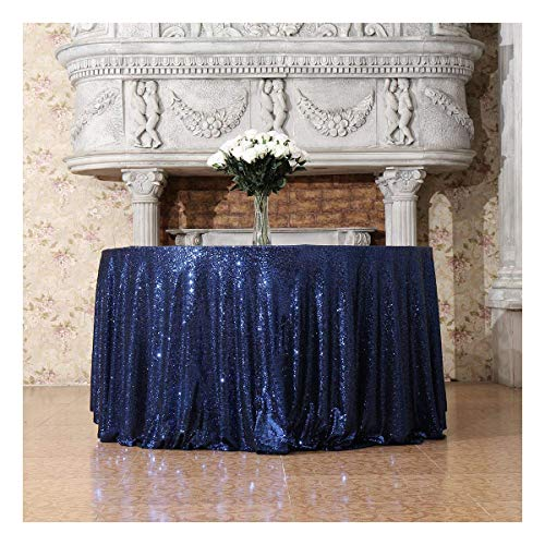 Poise3EHome 120-Inch Round Sequin Tablecloth for Party Cake Dessert Table Exhibition Events, Navy Blue