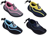 7A907B Children's 4 Colors Water Shoes Aqua Socks Slip on Athletic Kids Boys Girls Pool Sport Beach Surf